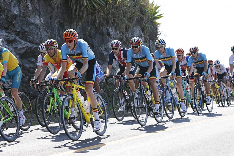 Belgian cyclist Greg Van Avermaet (2nd L) and Belgian cyclist Philippe Gilbert (R) in action at the men's road race cycling event at the 2016 Olympic Games in Rio de Janeiro, Brazil, Saturday 06 August 2016.  BELGA PHOTO YUZURU SUNADA