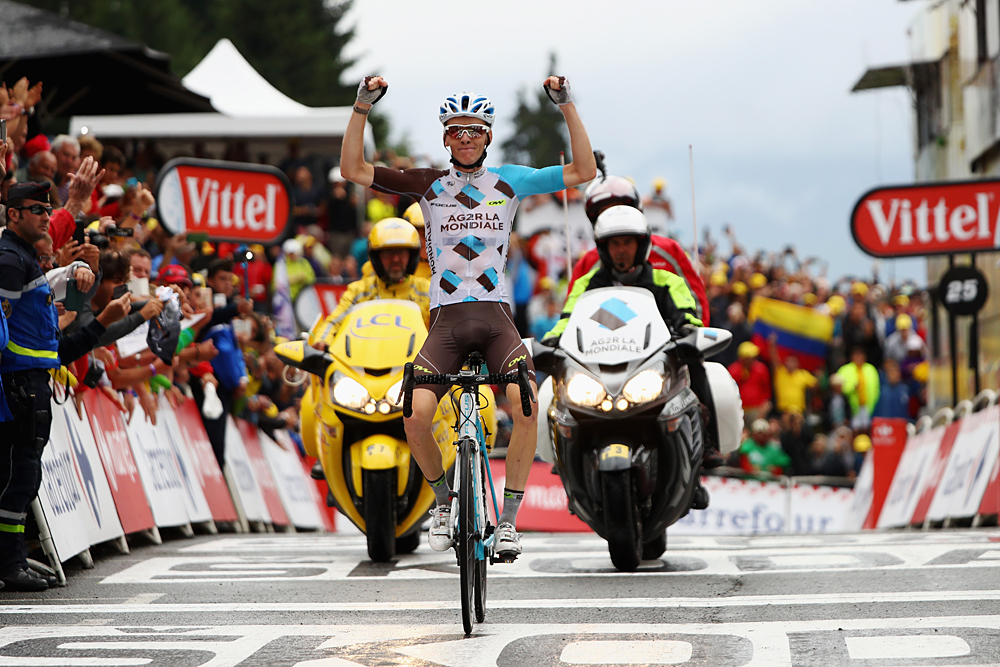 SAINT-GERVAIS MONT BLANC, FRANCE - JULY 22:  Romain Bardet of France and AG2R La Mondial Team crosses the finish line to win the 146 km mountain stage nineteen of Le Tour de France from Albertville to Saint-Gervais Mont Blanc on July 22, 2016 in Saint-Gervais Mont Blanc, France. His victory gives France their first stage winner in this years Tour.  (Photo by Michael Steele/Getty Images)